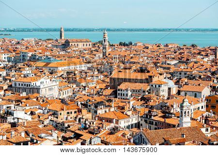 Aerial view from San Marks campanile on San Polo and Cannaregio region in Venice