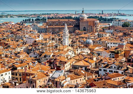 Aerial view from San Marks campanile on Castello region in Venice