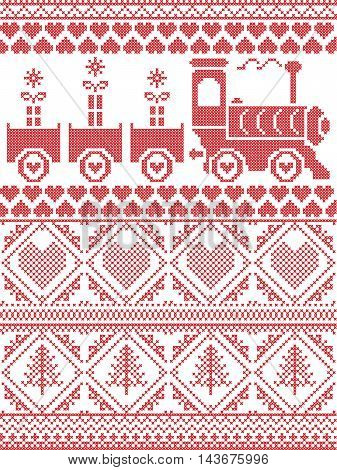 Scandinavian Printed Textile style and inspired by Norwegian Christmas and festive winter seamless pattern in cross stitch with gifts, gravy train, Christmas tree,  heart and decorative ornaments