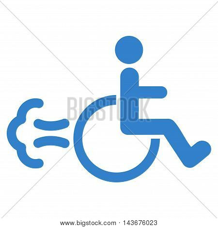 Patient Movement icon. Vector style is flat iconic symbol with rounded angles, cobalt color, white background.