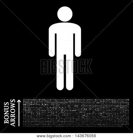 Man icon with 1200 bonus arrow and navigation pictograms. Vector illustration style is flat iconic symbols, white color, black background.