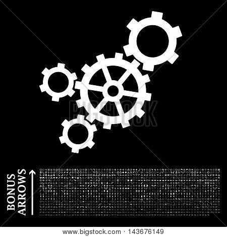 Mechanism icon with 1200 bonus arrow and navigation pictograms. Vector illustration style is flat iconic symbols, white color, black background.