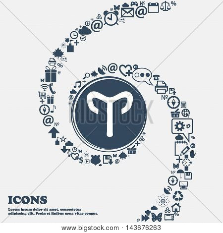 Decorative Zodiac Aries Icon In The Center. Around The Many Beautiful Symbols Twisted In A Spiral. Y