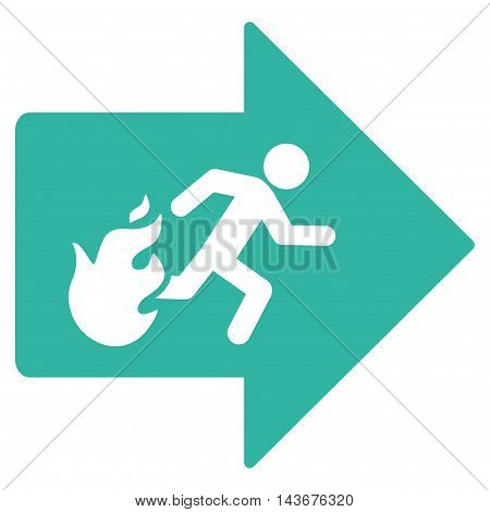 Fire Exit icon. Vector style is flat iconic symbol with rounded angles, cyan color, white background.