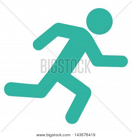 Running Man icon. Vector style is flat iconic symbol with rounded angles, cyan color, white background.