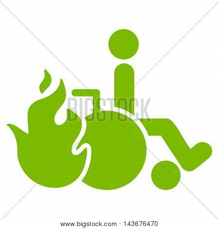 Burn Patient icon. Vector style is flat iconic symbol with rounded angles, eco green color, white background.