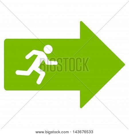 Exit Arrow icon. Vector style is flat iconic symbol with rounded angles, eco green color, white background.