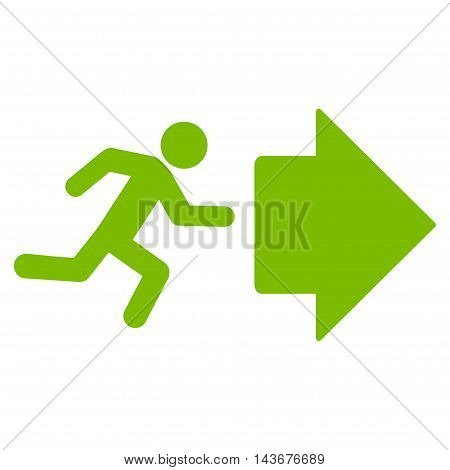 Exit Direction icon. Vector style is flat iconic symbol with rounded angles, eco green color, white background.
