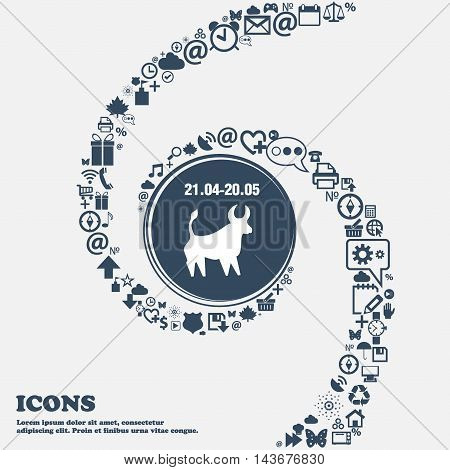 Taurus Icon In The Center. Around The Many Beautiful Symbols Twisted In A Spiral. You Can Use Each S
