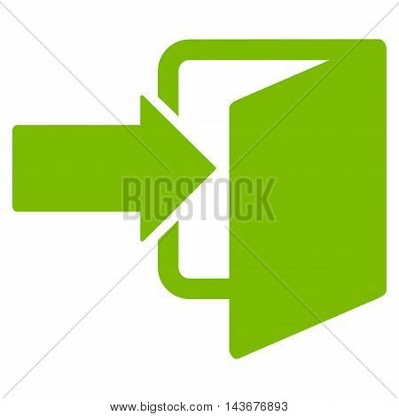 Exit Door icon. Vector style is flat iconic symbol with rounded angles, eco green color, white background.