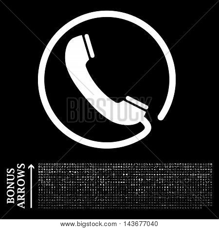 Phone icon with 1200 bonus arrow and navigation pictograms. Vector illustration style is flat iconic symbols, white color, black background.
