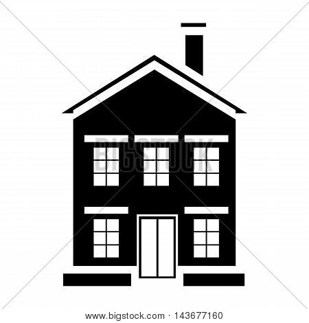 Cute little house with chimney icon in simple style isolated on white background