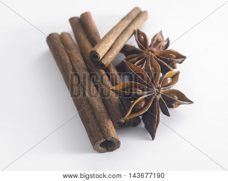 cinnamon stick and anise star on the white background