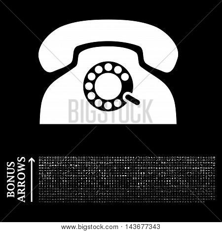 Pulse Phone icon with 1200 bonus arrow and direction pictograms. Vector illustration style is flat iconic symbols, white color, black background.