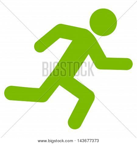 Running Man icon. Vector style is flat iconic symbol with rounded angles, eco green color, white background.