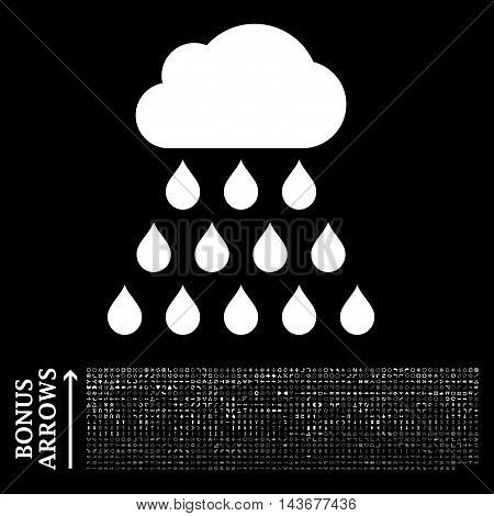 Rain Cloud icon with 1200 bonus arrow and navigation pictograms. Vector illustration style is flat iconic symbols, white color, black background.