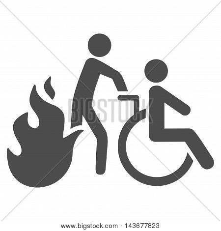 Fire Patient Evacuation icon. Vector style is flat iconic symbol with rounded angles, gray color, white background.