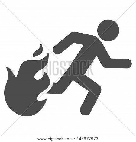 Fired Running Man icon. Vector style is flat iconic symbol with rounded angles, gray color, white background.