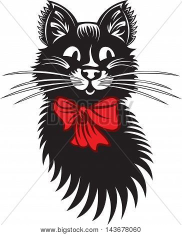 Funny Cat with Red Bow, vector cartoon illustration