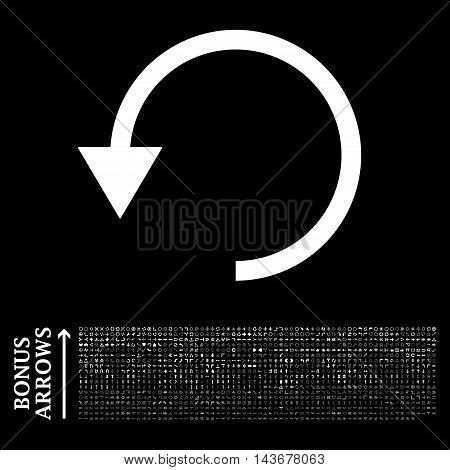 Rotate Ccw icon with 1200 bonus arrow and navigation pictograms. Vector illustration style is flat iconic symbols, white color, black background.