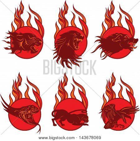 Set of Fire Animal Emblem, vector illustration