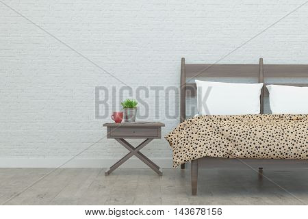 Bedroom in loft style and white walls. 3D Rendering