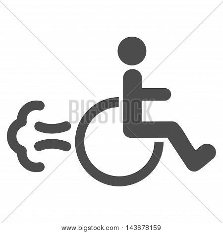 Patient Movement icon. Vector style is flat iconic symbol with rounded angles, gray color, white background.