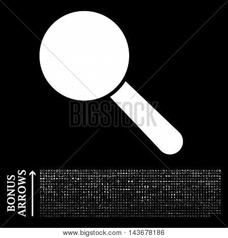 Search Tool icon with 1200 bonus arrow and direction pictograms. Vector illustration style is flat iconic symbols, white color, black background.