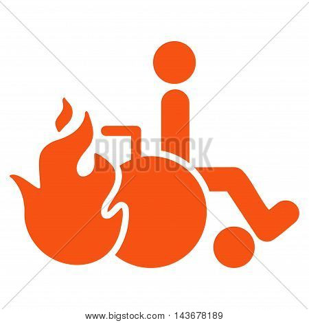 Burn Patient icon. Vector style is flat iconic symbol with rounded angles, orange color, white background.