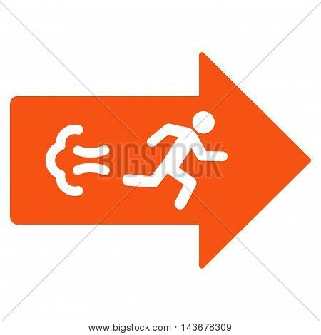 Exit Direction icon. Vector style is flat iconic symbol with rounded angles, orange color, white background.