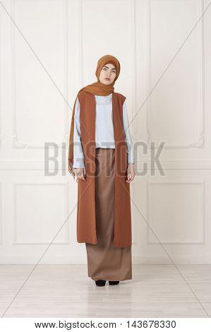 beautiful Islamic woman in the modern Muslim clothes Ufa