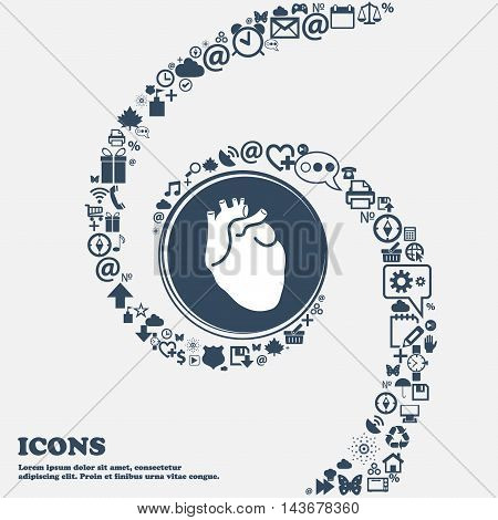 Human Heart Icon In The Center. Around The Many Beautiful Symbols Twisted In A Spiral. You Can Use E
