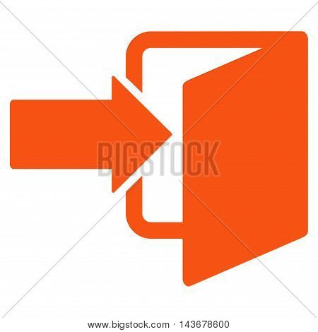 Exit Door icon. Vector style is flat iconic symbol with rounded angles, orange color, white background.