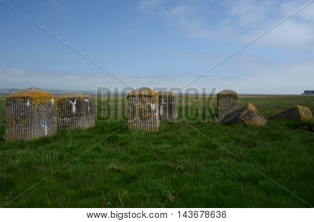 A view of coastal anti tank defences at Tentsmuir in Fife