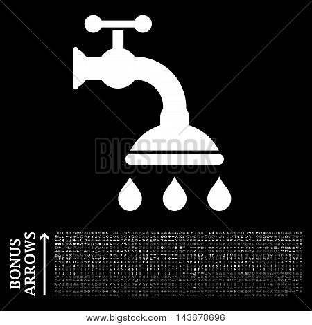 Shower Tap icon with 1200 bonus arrow and direction pictograms. Vector illustration style is flat iconic symbols, white color, black background.