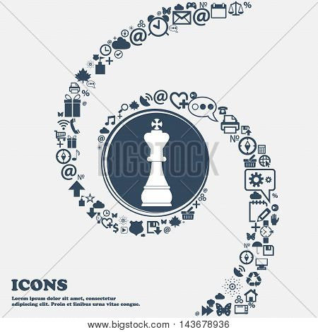 Chess King Icon In The Center. Around The Many Beautiful Symbols Twisted In A Spiral. You Can Use Ea