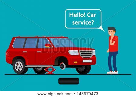 Worried driver calling roadside assistance to help with his breakdown car vector illustration. Flat concept design on man in suit standing text to broken car with open hood talking on mobile phone