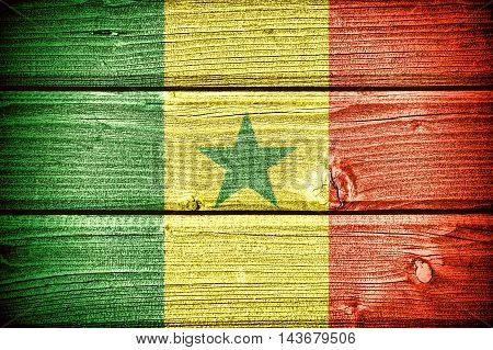 flag of Senegal painted on old grungy wooden background: 3d illustration
