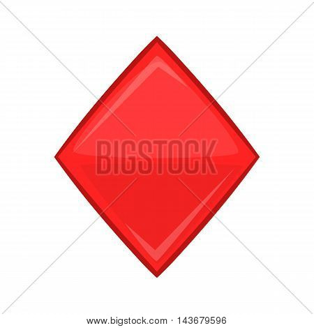 Card suit diamonds icon in cartoon style isolated on white background. Game symbol