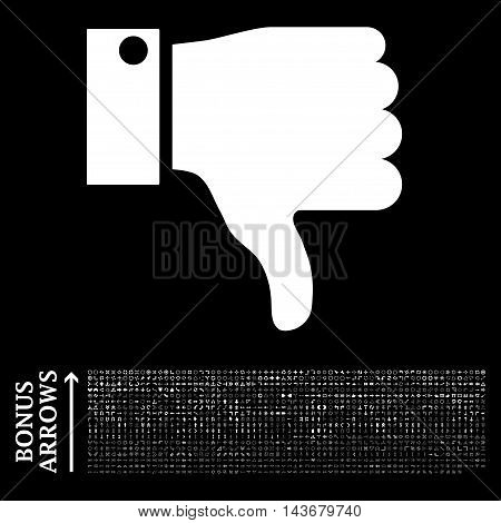Thumb Down icon with 1200 bonus arrow and navigation pictograms. Vector illustration style is flat iconic symbols, white color, black background.