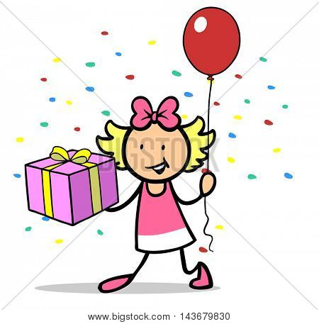 Happy cute carton girl with gift and a red balloon celebrating a birthday party