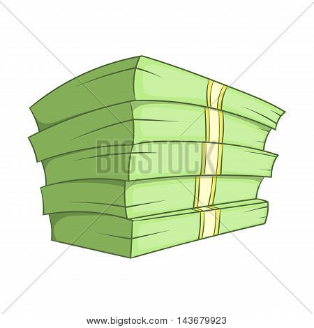 Stack of money icon in cartoon style isolated on white background. Cash symbol