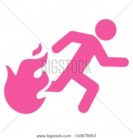 Fired Running Man icon. Vector style is flat iconic symbol with rounded angles, pink color, white background.