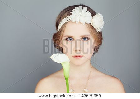 Fashion Model Girl. Fashionable Teenager Girl Wearing a Strapless Princess Prom Dress and Bohemian Boho Chic Hairstyle