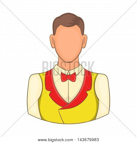 Croupier icon in cartoon style isolated on white background. Worker symbol
