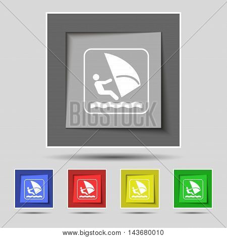 Windsurfing Icon Sign On Original Five Colored Buttons. Vector