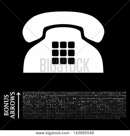 Tone Phone icon with 1200 bonus arrow and navigation pictograms. Vector illustration style is flat iconic symbols, white color, black background.