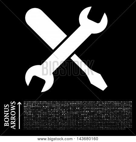 Tuning icon with 1200 bonus arrow and direction pictograms. Vector illustration style is flat iconic symbols, white color, black background.