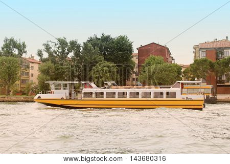 Boat transportation along the canal in Venice Italy