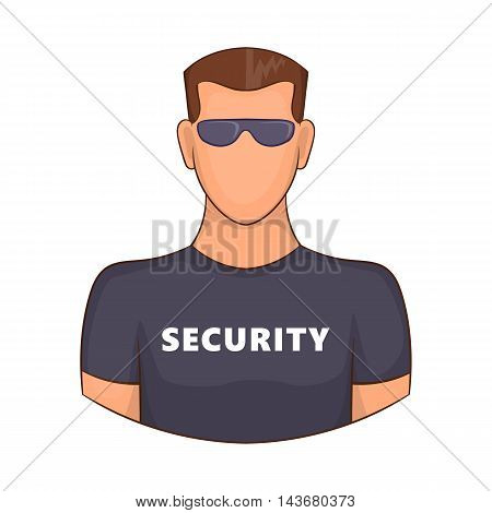 Security guard male icon in cartoon style isolated on white background. Protection symbol